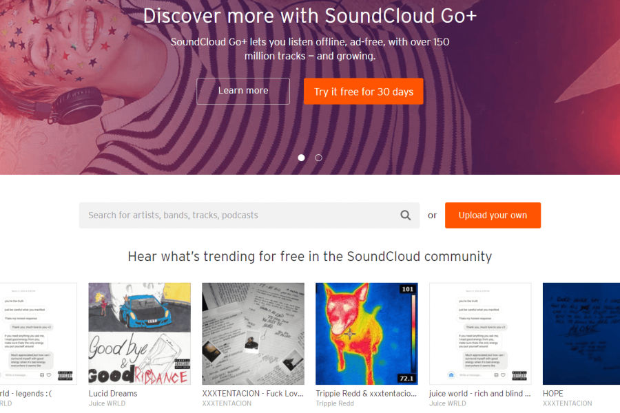 The SoundCloud website.