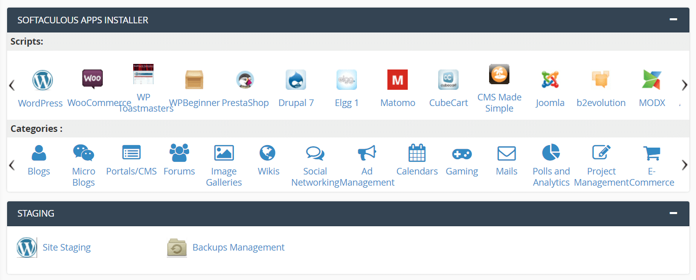 A WordPress install option in cPanel.