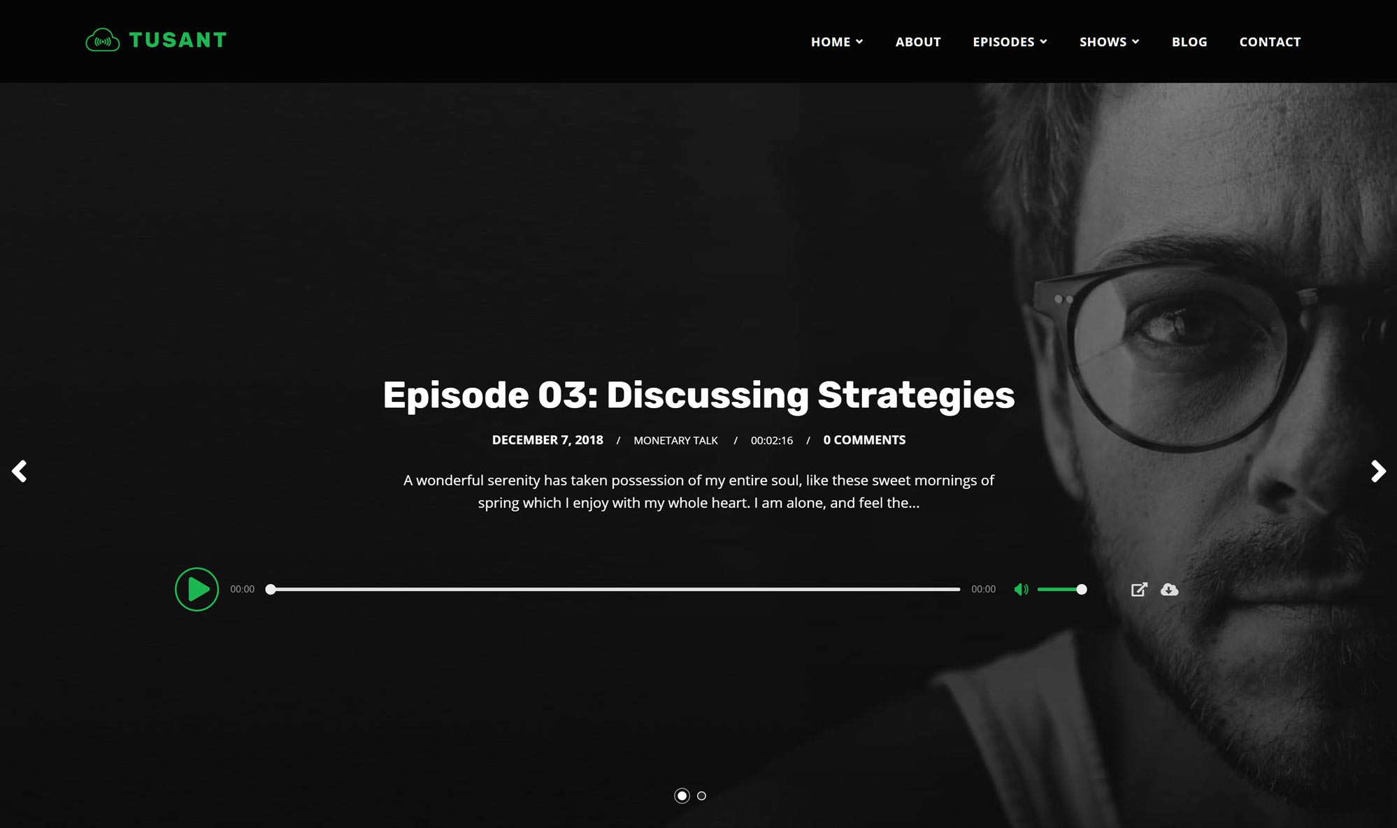 Secondlinethemes podcast website with Anchor