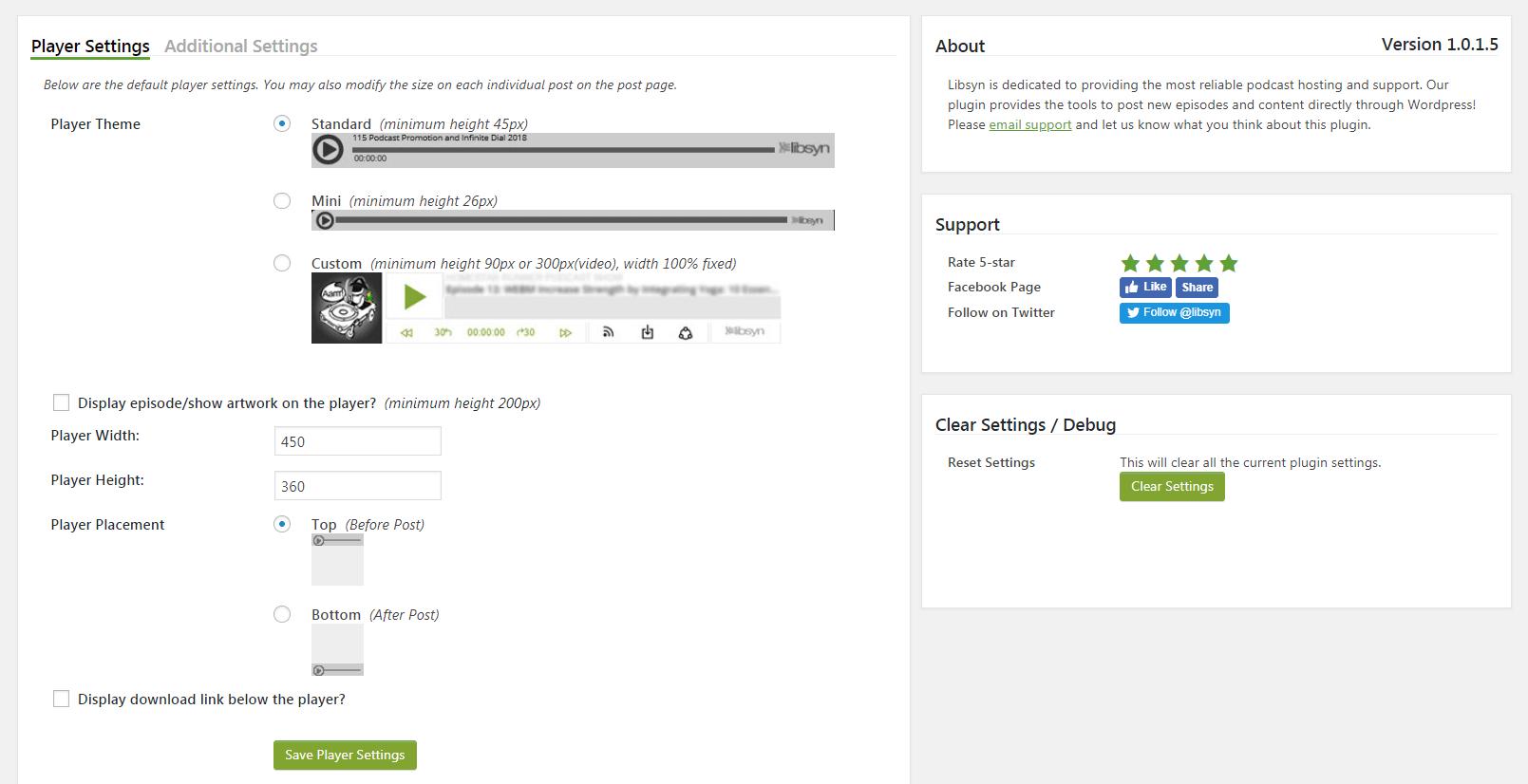 The Libsyn plugin's settings.