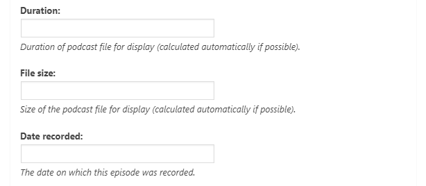 Podcast episode settings.