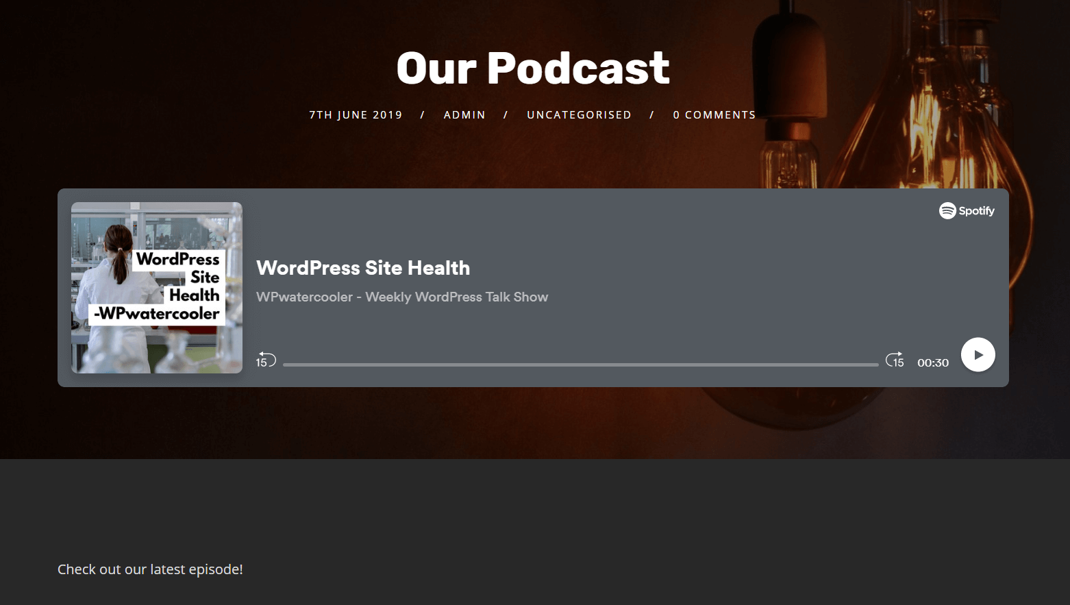 A podcast displayed on a website.