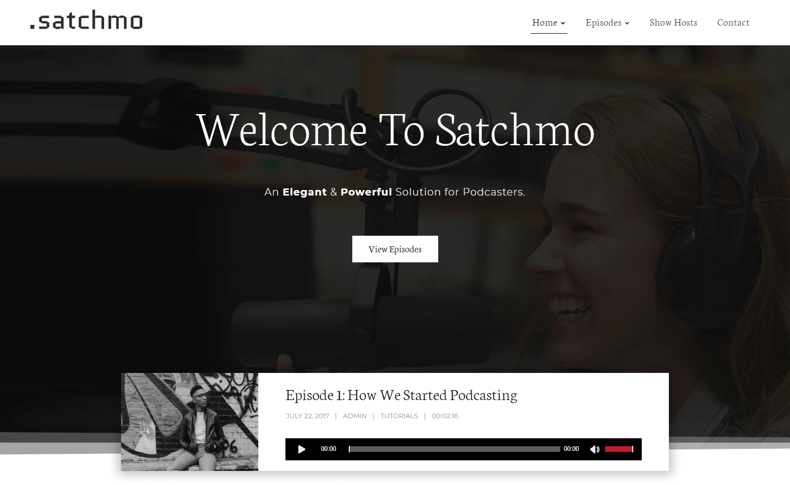 An example of a podcast website.