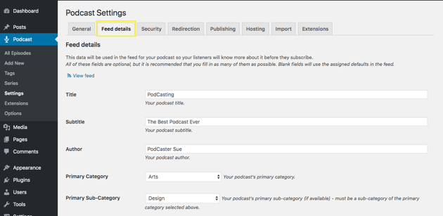 Seriously Simple Podcasting Feed Details menu settings page.