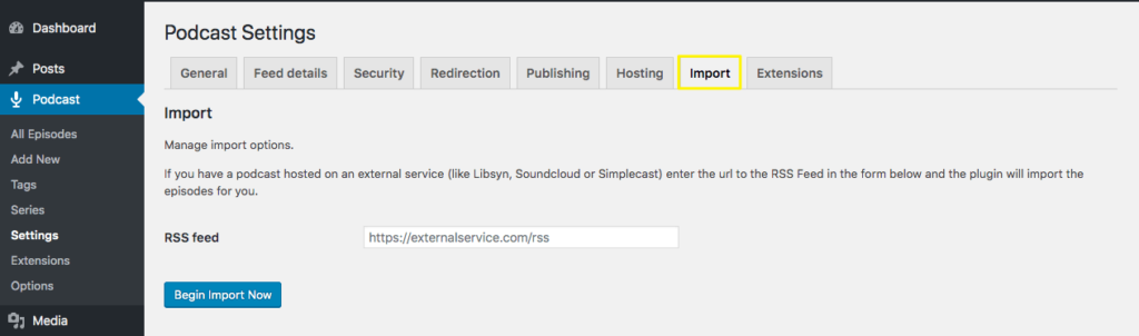 Seriously Simple Podcasting Import settings page.
