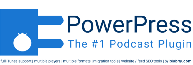 "Business logo on a solid white background with a solid blue icon of a power plug on the far left and ""PowerPress :The #1 Podcast Plugin"" in the center."
