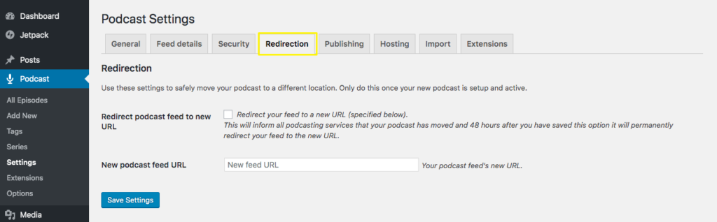 Seriously Simple Podcasting Redirection settings page.