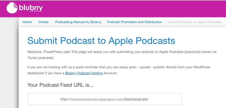 Podcast submission page.