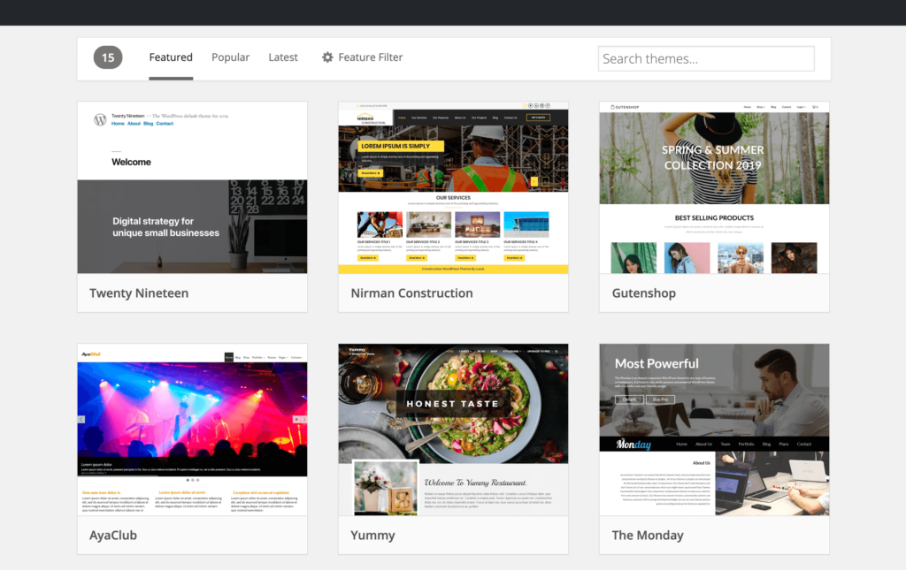 WordPress Theme Directory with more themes than Squarespace