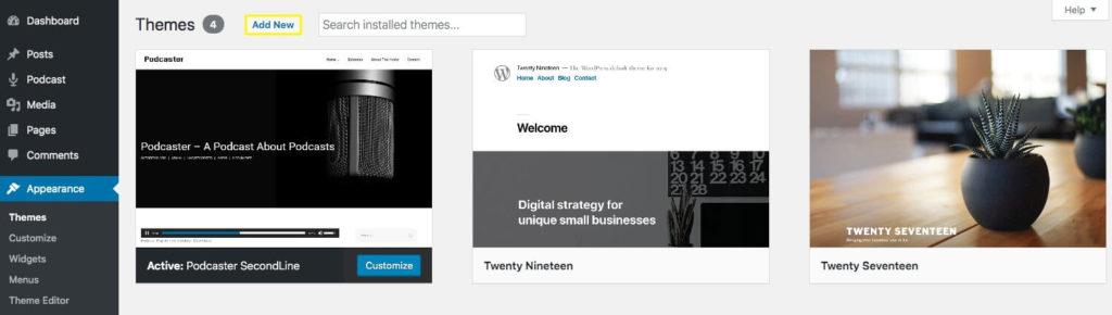 WordPress Theme management page.