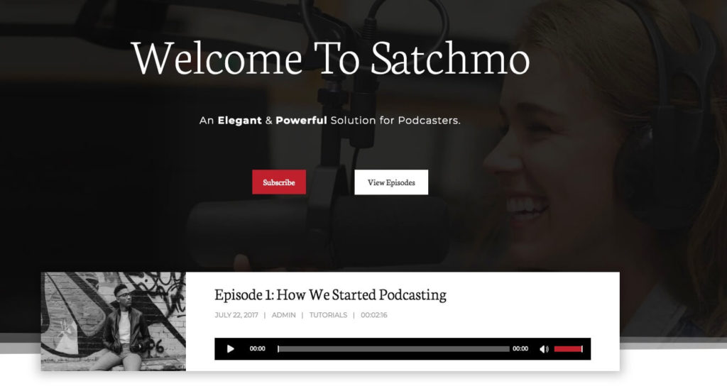 Satchmo WordPress podcast theme.