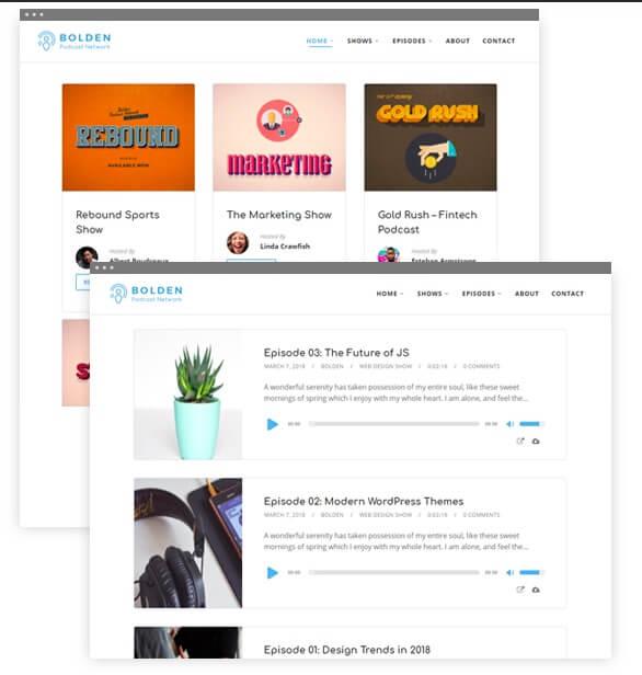 Bolden WordPress podcast theme.