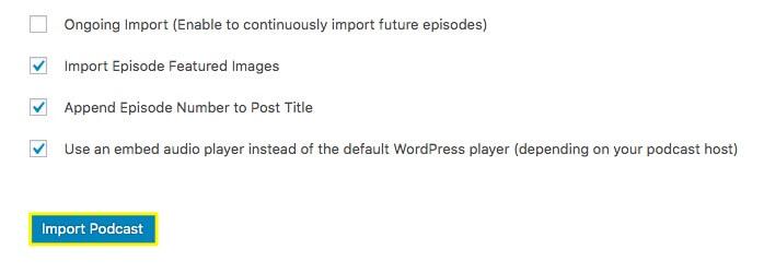 More importer settings.