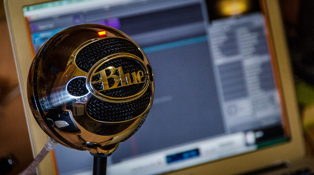 The Blue Snowball microphone.
