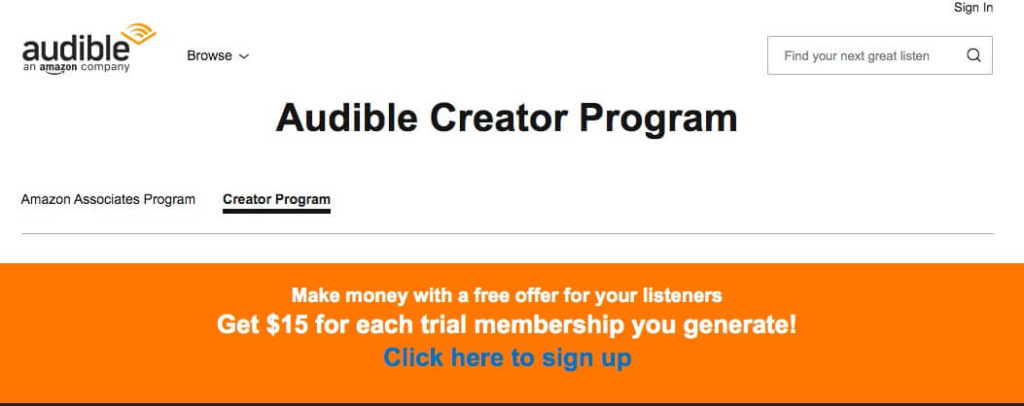 Audible Creator program for generating revenue with podcasts