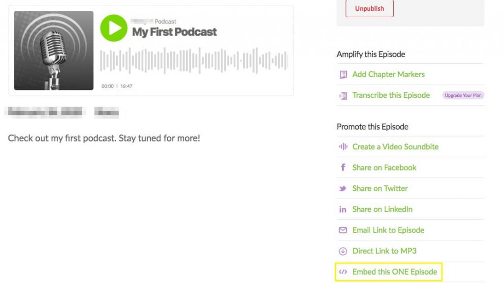 Where to find the embed link for your podcast.