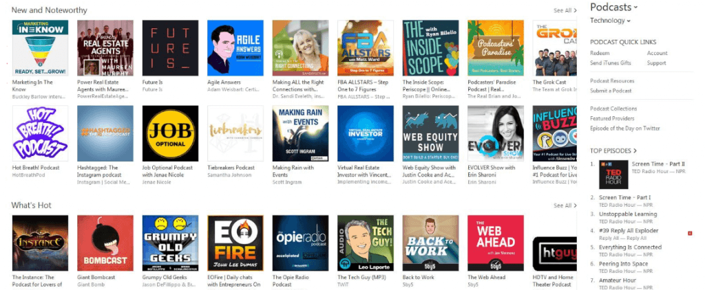 The main Apple Podcasts screen.
