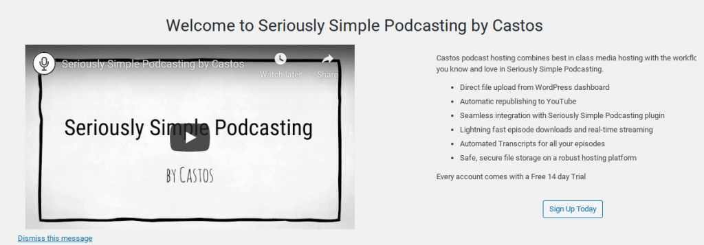The Seriously Simple Podcasting Welcome screen.