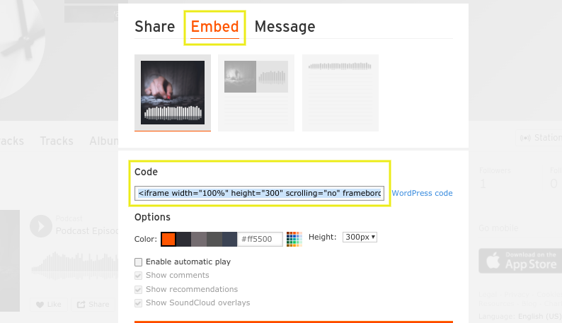 The embed code of a SoundCloud podcast.
