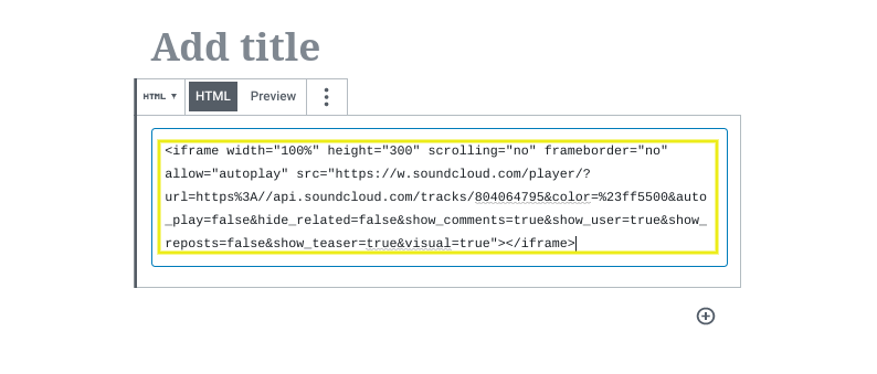 Podcast embed code pasted in the WordPress HTML block editor.