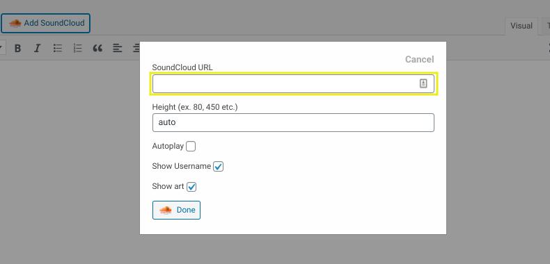 The screen to add a SoundCloud URL in WordPress.