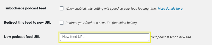 The section to add a new podcast feed URL in a SecondLines Theme.