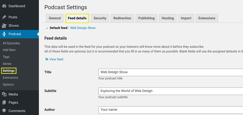 The podcast feed details page.