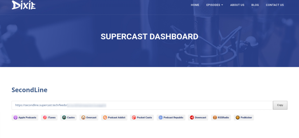 The Supercast dashboard on a demo podcast website.