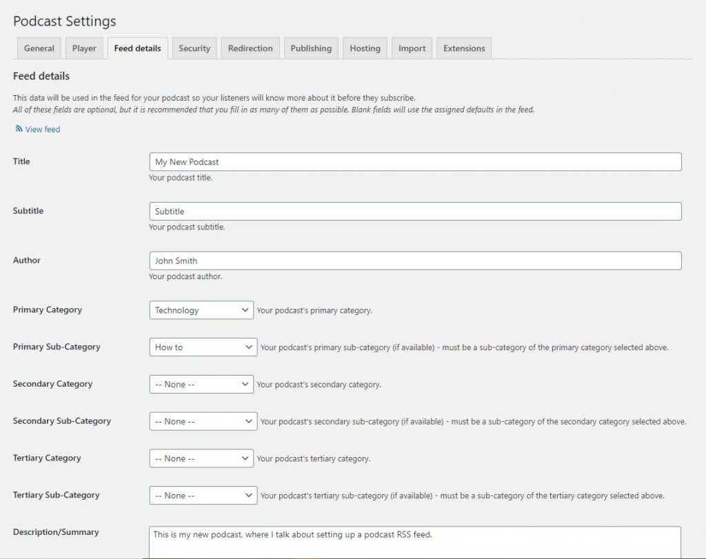 A form where users can fill out details about their podcast