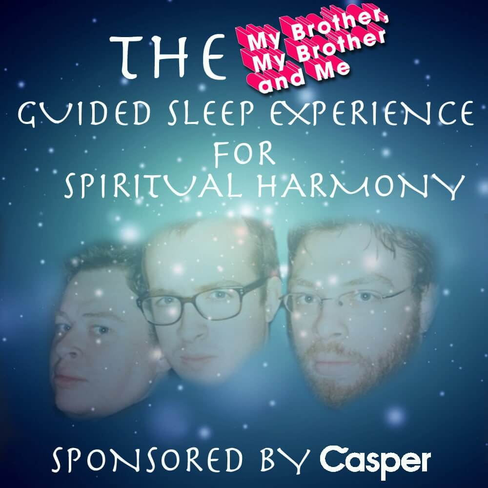 """The episode cover for an episode of """"My Brother, My Brother, and Me"""" sponsored by Casper"""