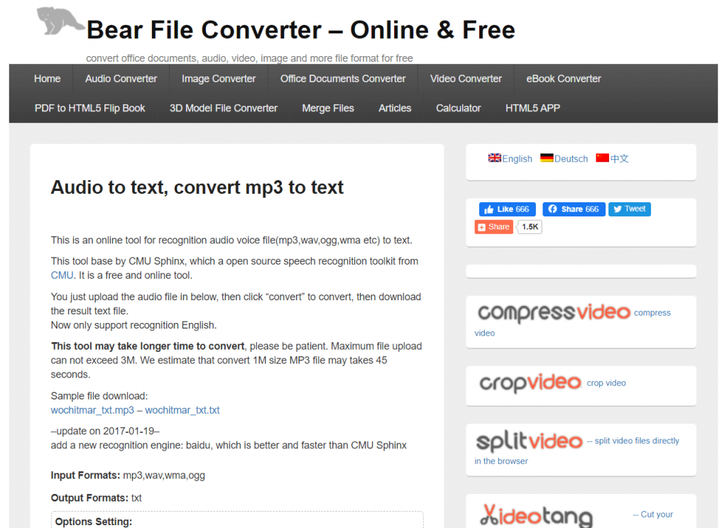 The Bear File Converter homepage.