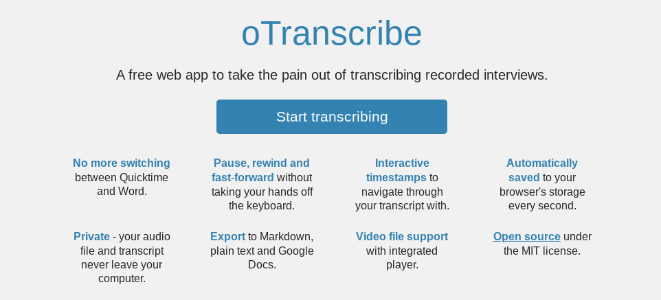 The homepage for the oTranscribe website.