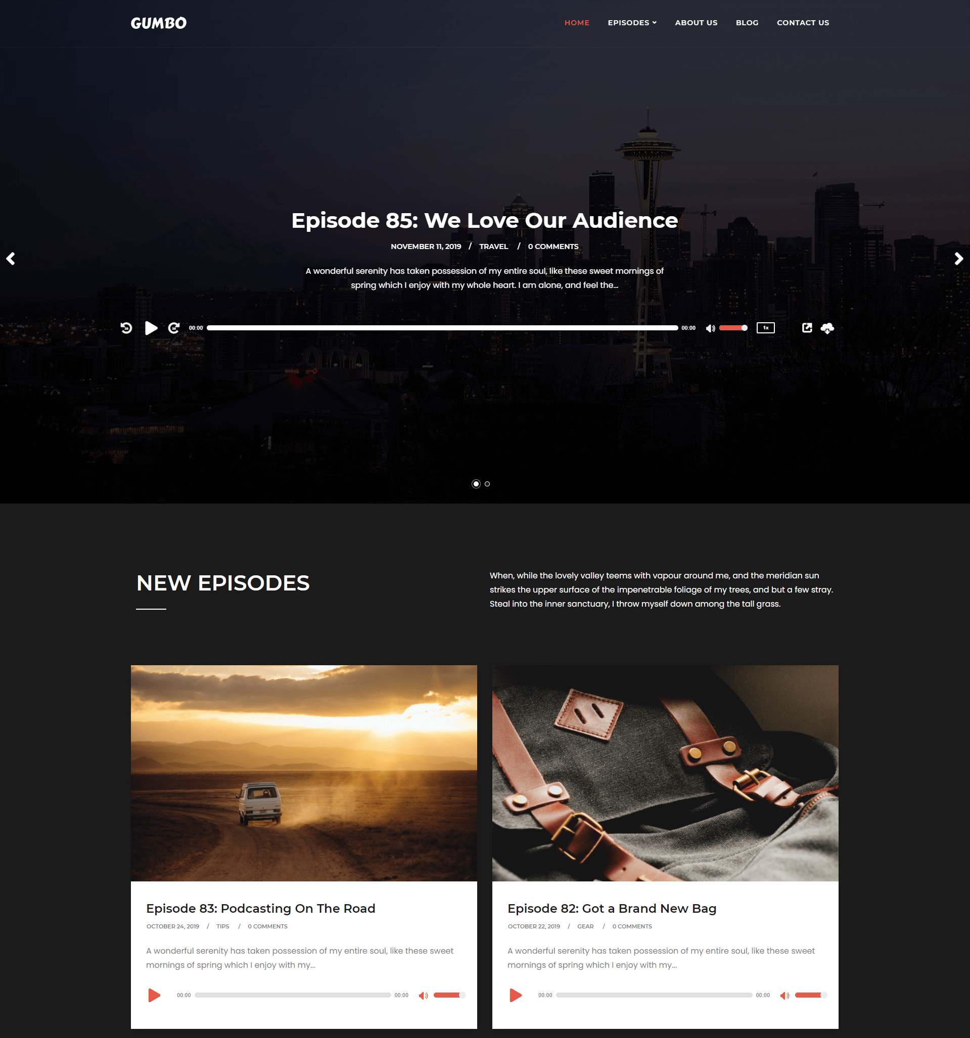 """The demo page for the """"Gumbo"""" theme, which has been optimized for use with podcasting features."""