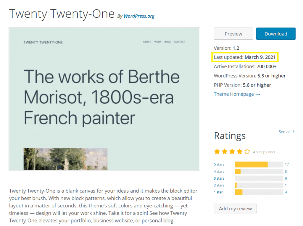 The theme page for Twenty Twenty-One, with the update information on the right highlighted.