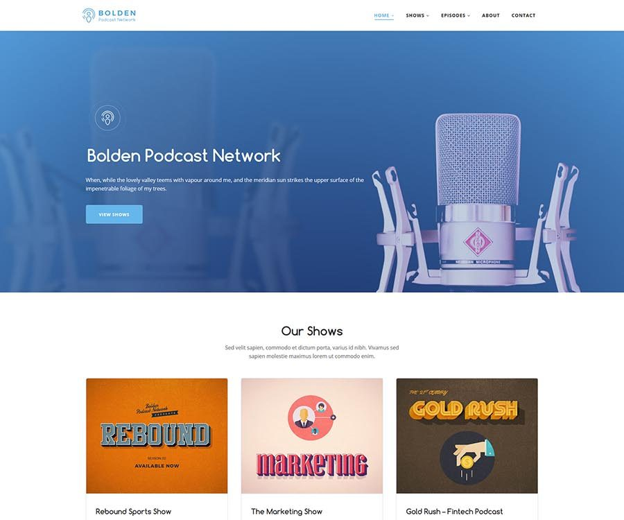 Bolden WordPress Podcast Theme